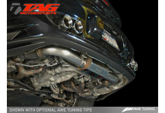"""Silver Tips - AWE Tuning Porsche 997TT Exhaust System with HJS 200 cell catalysts and 3"""" Tailpipes"""