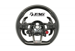 R8 V10 Plus Steering Wheel with Black Smooth Leather, Black Stitching and Matte Carbon Accents (incl. Optional Extended Paddles)  incl. Optional Carbon Inner Ring