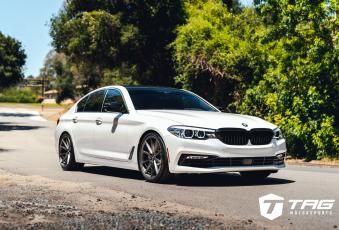 18' BMW 540i ON VOSSEN VFS-1 WHEELS AND H&R SPORT SPRINGS