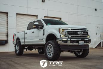 F250 Lariat Lifted on Chrome Fuel Wheels