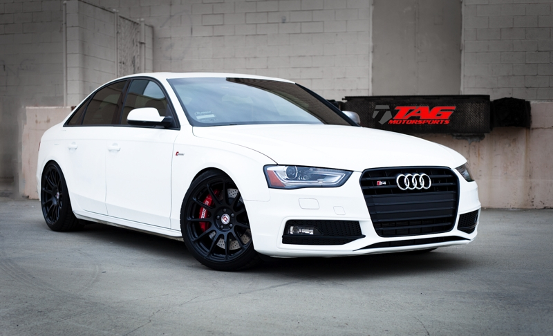 "White Lightning - 2013 Audi S4 on 19"" HRE P43SC wheels, Stoptech brakes"