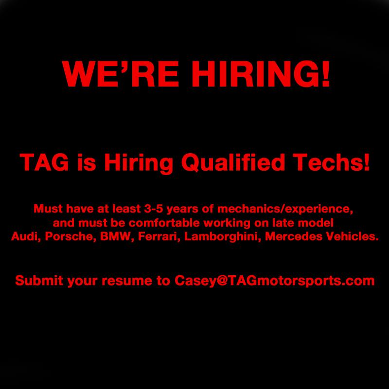 We're Hiring Techs!