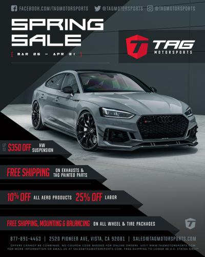 TAG 2019 Spring Sale is HERE!