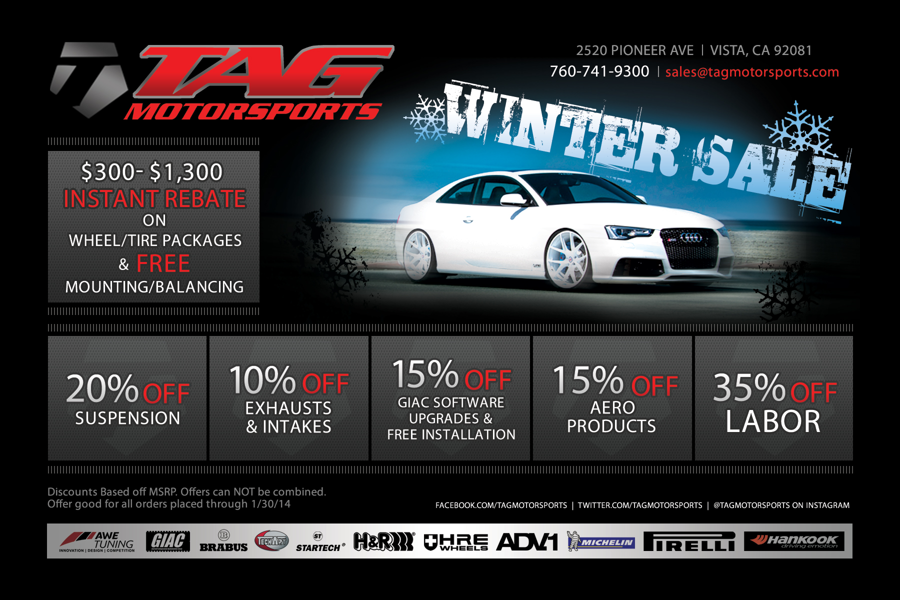Winter SALE & Cyber Monday - TAG Motorsports