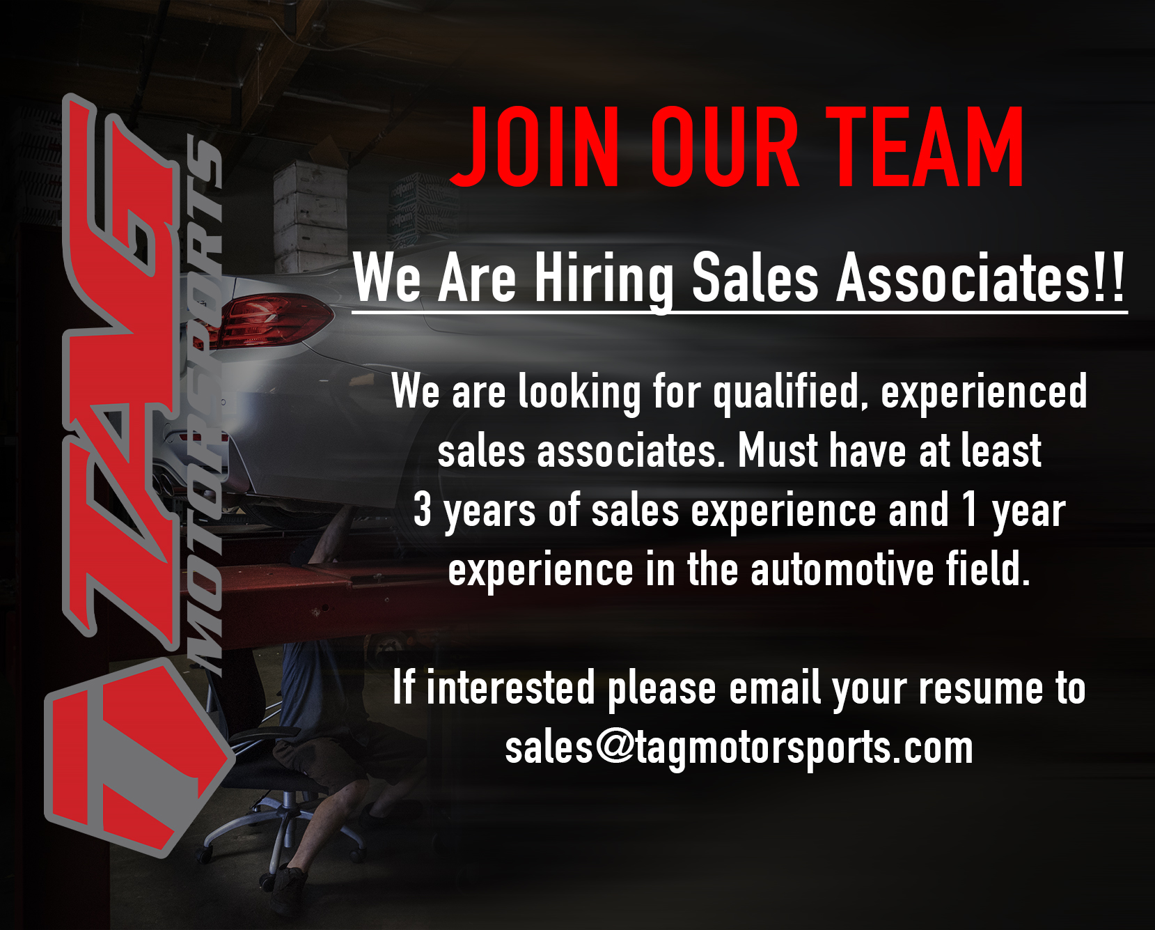 Join the TAG Team! We're Hiring a Sales Associate!
